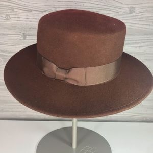 Lack Of Color Brown Stahl Boater Wool Hat